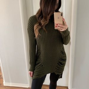 Sweaters - Olive Distressed Knit Sweater